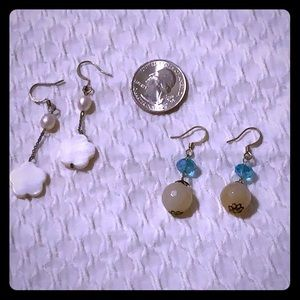 Lot of 2 natural jade freshwater pearl earrings